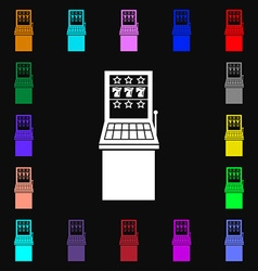 Slot machine icon sign lots of colorful symbols vector