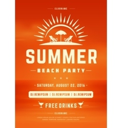 Summer holydays beach party typography poster or vector