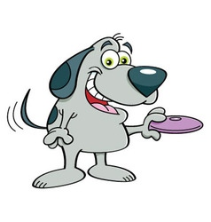 Cartoon dog holding a flying disk vector