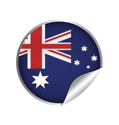 australian flag sticker badge icon vector image
