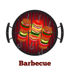 barbecue pan with kebab fried meat on skewers vector image vector image