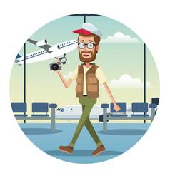 Beard man traveler camera cap airport vector