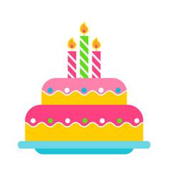 Birthday cake color icon vector