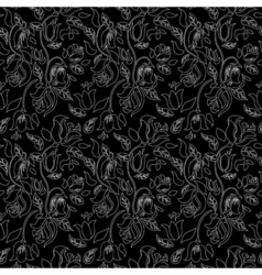 Black and white tulip and rose floral textile vector image vector image
