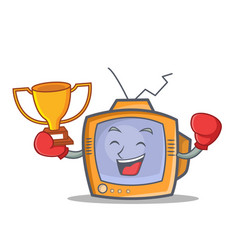 boxing tv character cartoon object winner vector image vector image