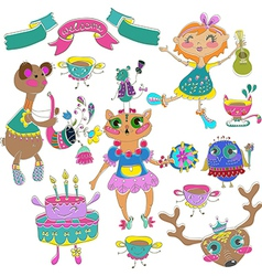 Cartoon color party with little girl and animals vector