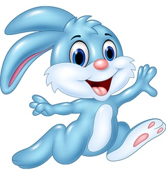 Cartoon happy bunny running isolated vector image vector image
