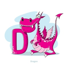 Cartoons alphabet - letter d with funny dragon vector