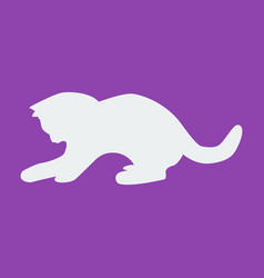 cat icon on purple background vector image