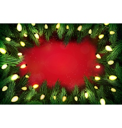 Christmas pine wreath with lights on red vector