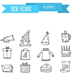 Collection of new year icons hand draw vector