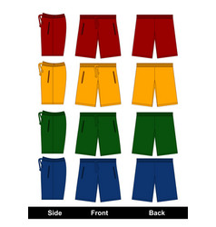 Design template shorts side front back vector
