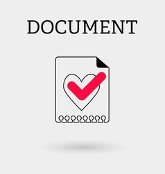 Document with tick and heart outline style vector