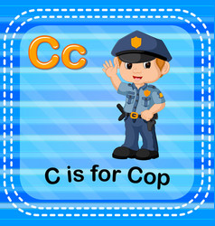 Flashcard letter c is for cop vector