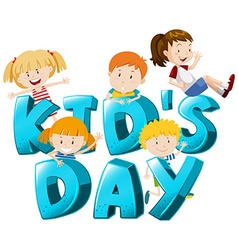 Font design with boys and girls vector image vector image