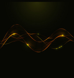Gold glitter abstract waves of smoke vector