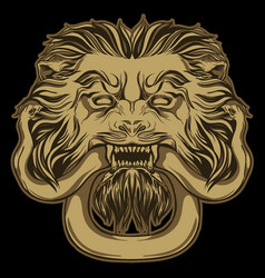 gold lion holding a snake on black door knocker vector image vector image