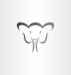 happy elephant head sylized symbol vector image
