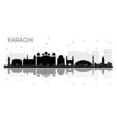 karachi city skyline black and white silhouette vector image