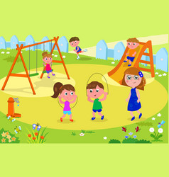 kids playing at the park with adult vector image vector image