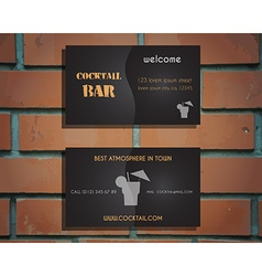Lounge cocktail bar visiting card template with vector image