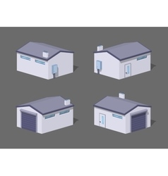 Low poly white garage vector