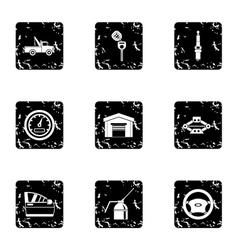 Maintenance car icons set grunge style vector