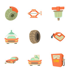 Repair machine icons set cartoon style vector
