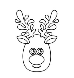 Silhouette cartoon cute face reindeer animal vector