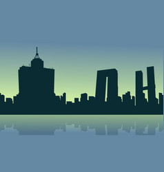 Silhouette of mexico city at the sunrise vector