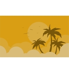 Silhouette of palm and bird landscape vector image vector image