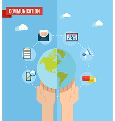 Social media world concept flat vector image