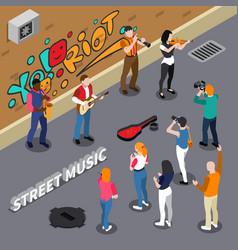 Street musicians isometric vector