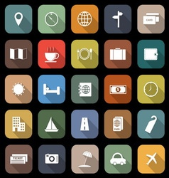 Travel flat icons with long shadow vector