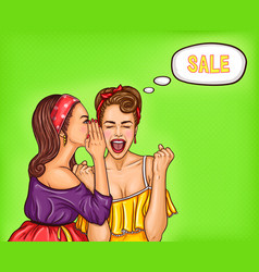 two girlfriends girls discuss upcoming discounts vector image