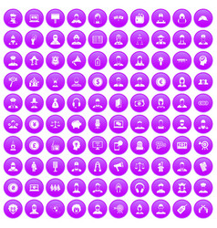 100 headhunter icons set purple vector