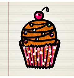 Doodle cupcake vector image