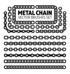 Metal chain links pattern brushes set vector image
