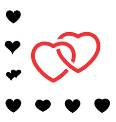 Heart black and white icon vector
