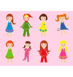 Eight small girls in various garments vector