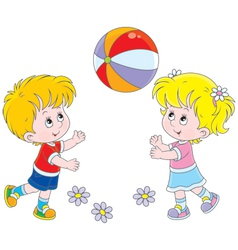 Children playing a ball vector image