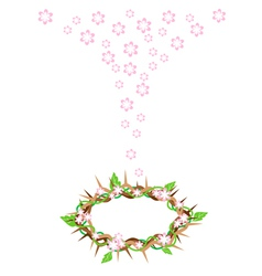 Fresh leaves falling to a crown of thorns vector