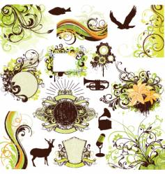 floral grunge design elements set vector image