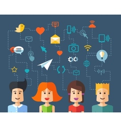Isolated flat design people social network compo vector
