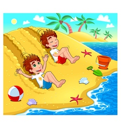 Twins are playing on the beach vector
