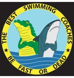 Funny of shark and crocodile vector