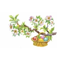 Easter holiday watercolor wicker basket filled vector