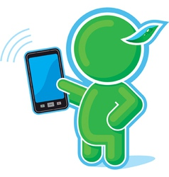 Green hero with cell phone vector