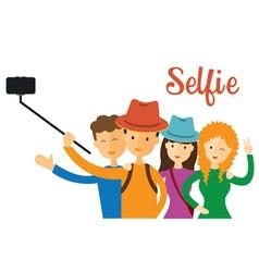 Group of friend selfie vector