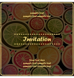 Invitation card with different fruits vector